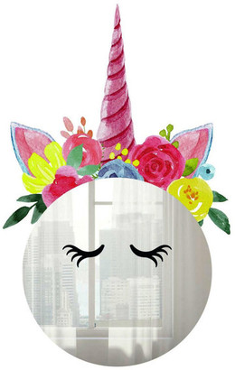 Room Mates Floral Unicorn Mirror Wall Decals
