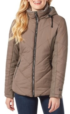 Free Country Quilted Puffer Coat with Attached Hood