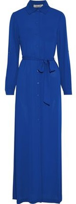 Diane von Furstenberg Amina Belted Crepe De Chine Maxi Shirt Dress