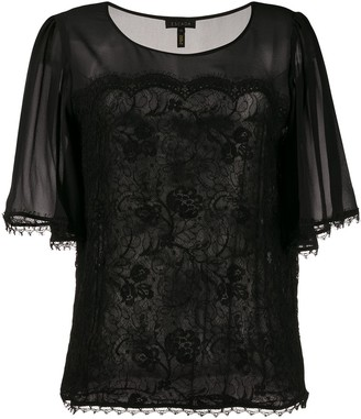 Escada Sheer Sleeve Blouse