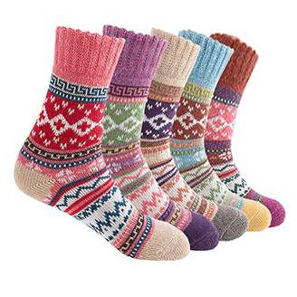 Womens Vintage Winter Soft Warm Thick Cold Knit National Style Christmas Socks