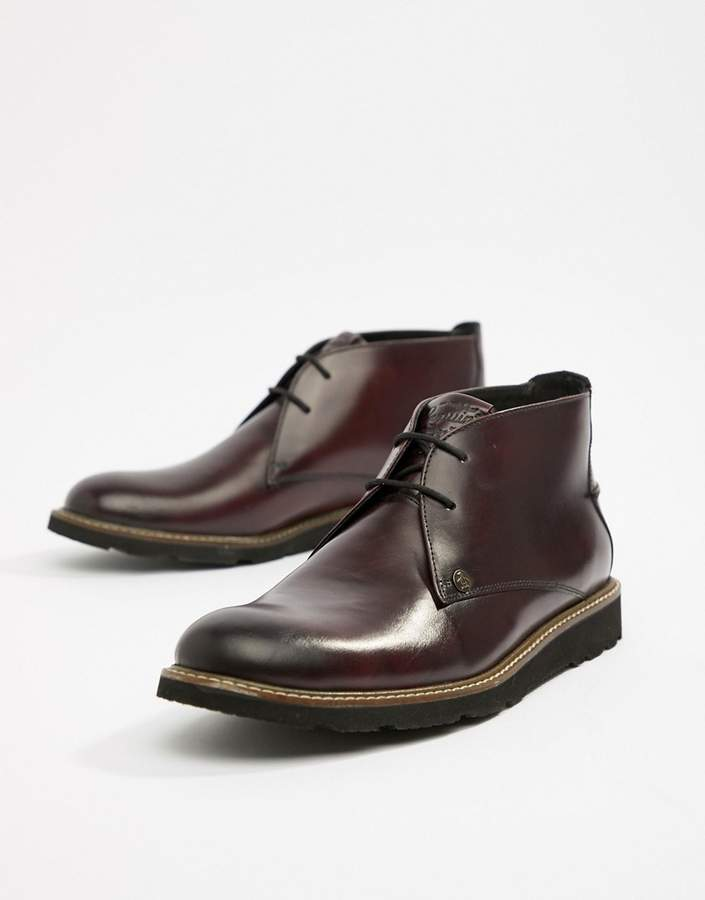 Original Penguin Leather Lace Up Boots in Oxblood