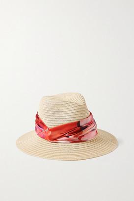 Eugenia Kim Lilian Floral-print Satin-trimmed Hemp-blend Hat - Beige