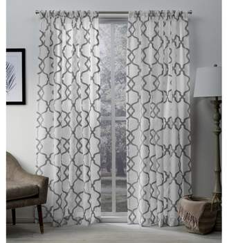 Mid-Century MODERN Exclusive Home Muse Geometric Textured Jacquard Linen Sheer Rod Pocket Window Curtain Panel Pair