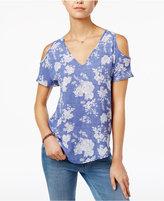 Hippie Rose Juniors' Printed Cold-Shoulder V-Neck Top
