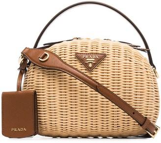 Prada Logo Plaque Basket Bag