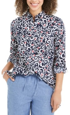 Charter Club Petite Floral-Print Linen-Blend Utility Shirt, Created for Macy's