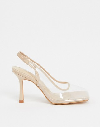Public Desire Zarah heeled shoes with square toe in beige