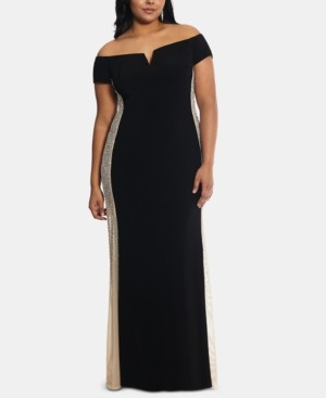Xscape Evenings Plus Size Embellished Off-The-Shoulder Gown