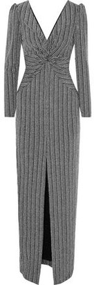 Rachel Zoe Nava Twist-front Metallic Ribbed-knit Gown