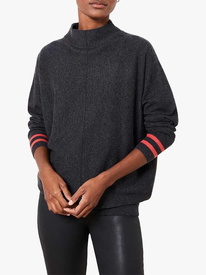 Mint Velvet Funnel Neck Contrast Striped Sleeve Jumper, Dark Grey