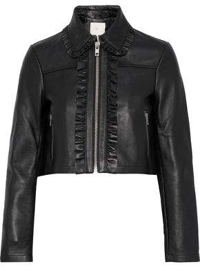 Maje Bollant Cropped Ruffle-trimmed Leather Biker Jacket