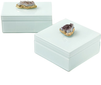 Twos Company Two's Company Set Of 2 Amethyst Geode Hinged Box Glass Lined Box