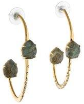 Alexis Bittar Labradorite Doublet Encrusted Open Hoop Earrings