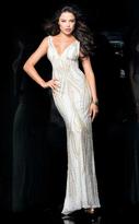 Scala 48581 Bedazzled V-neck Sheath Dress