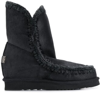 Mou Eskimo wedge knitted boots