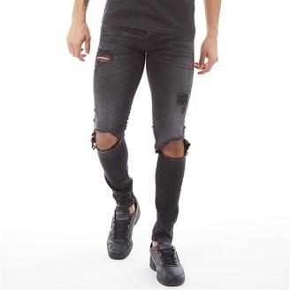 Jack and Jones Mens Tom Original AM 847 Skinny Fit Jeans Black Denim