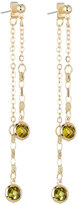 Fragments for Neiman Marcus Linear Front-Back Crystal Drop Earrings, Green