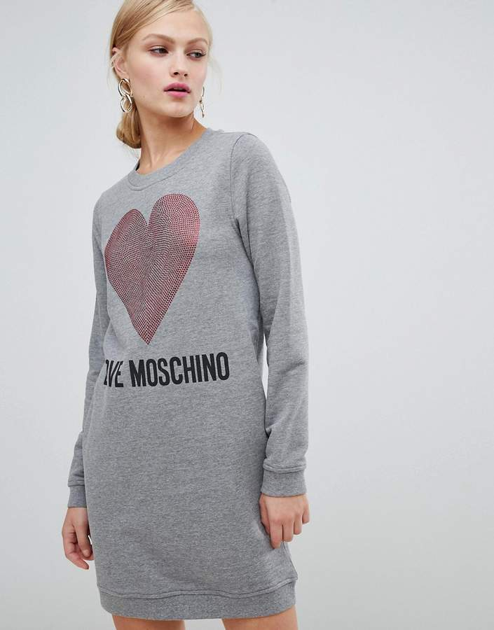Love Moschino Embellished Heart Logo Sweater Dress