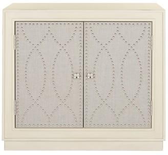 Rosdorf Park Studded 2 Door Mirrored Accent Cabinet Color: Antique Beige