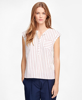 Brooks Brothers Cotton Cap Sleeve Pinstripe Shirt