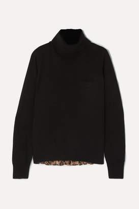 Sacai Wool And Leopard-print Chiffon Sweater - Black