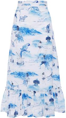 Isolda Gathered Floral-print Cotton-poplin Midi Skirt