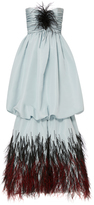 Elizabeth Kennedy Strapless Gown With Bubble Skirt And Feather Embroidery