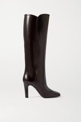 Saint Laurent Blu Embellished Leather Knee Boots - Brown