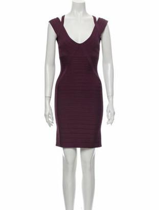 Herve Leger Plunge Neckline Mini Dress Purple