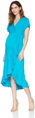 Three Seasons Maternity Women's Short Sleeve Ruffle Hem Hi Lo Dress