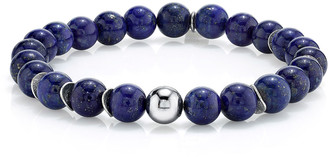 Mr. Lowe Men's Lapis & Wavy Disc Bracelet, Size M