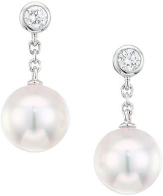 Mikimoto 18K White Gold, Diamond & 8MM White Round Akoya Pearl Drop Earrings
