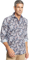 Tasso Elba Men's Big and Tall Long Sleeve Paisley Shirt