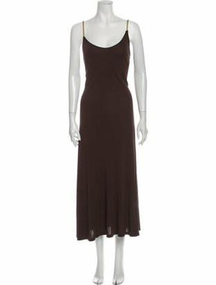 Celine Scoop Neck Long Dress Brown