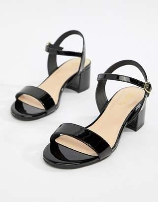Qupid Block Heel Sandals-Black