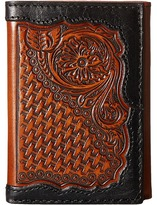 Ariat Basket Weave Floral Tab Trifold Wallet