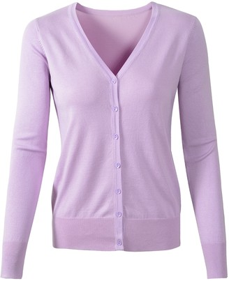 Benibos Womens V Neck Button Down Long Sleeve Basic Soft Knit Cardigan Sweater (UK Large/Tag 2XL