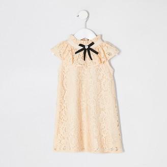 River Island Mini girls yellow lace bow collar shift dress