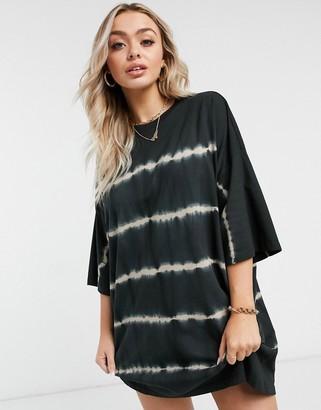 ASOS DESIGN oversized t-shirt dress in black tie dye stripe print