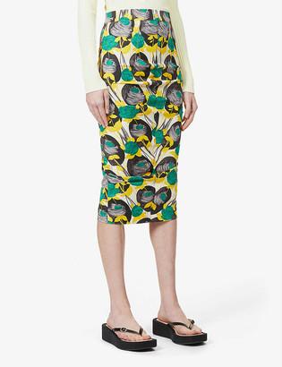 Sportmax Floral-print stretch-twill midi skirt