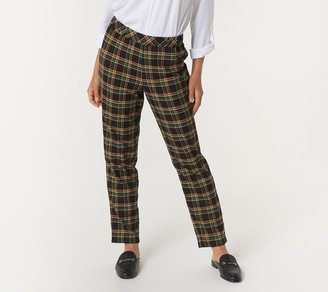 Joan Rivers Classics Collection Joan Rivers Regular Pull On Plaid Ankle Pants