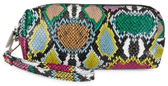 Bari Lynn Multicolor Snake-Embossed Pencil Case