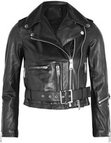 R 13 Cropped Leather Biker Jacket - Black