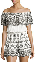 Parker Julie Embroidered Off-The-Shoulder Romper, White