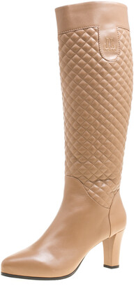 Loriblu Brown Quilted Leather Faux Fur Lined Knee Length Boots Size 41