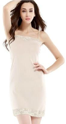 Hoffen Womens 100% Silk Full Slips Dress Lace Petticoat Underdress (L