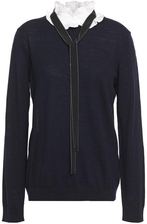 Claudie Pierlot Tie-neck Ruffled Wool Sweater