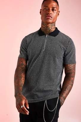 BoohoomanBoohooMAN Mens Black Stripe Zip Polo With Ribbed Collar, Black