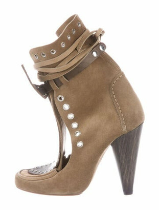 Isabel Marant Suede Bow Accents Lace-Up Boots